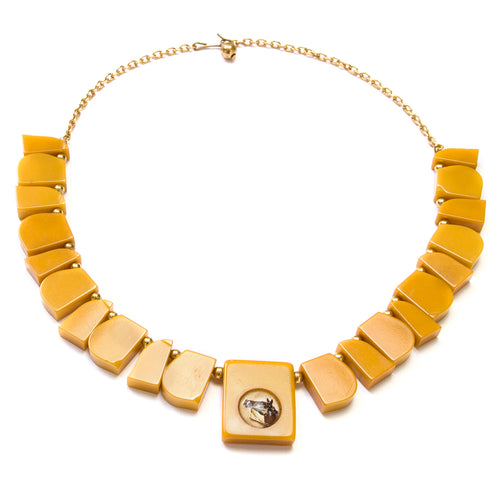 1950 Butterscotch Equestrian Bakelite Necklace