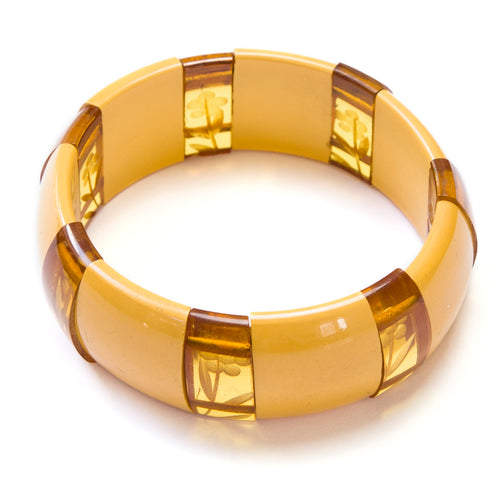 1930 Carved Butterscotch Bakelite Bracelet