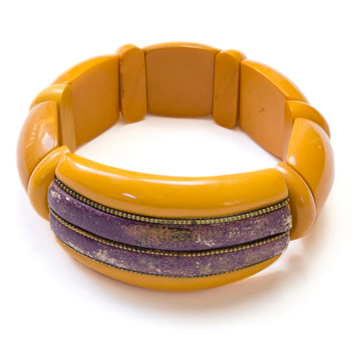 Butterscotch and Leather Bakelite Stretch Bracelet