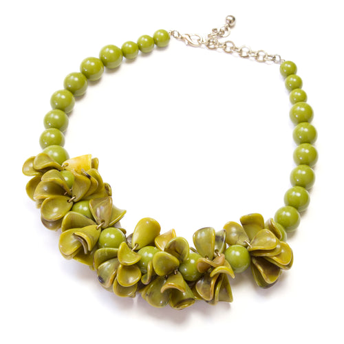 Green Bakelite Floral Necklace