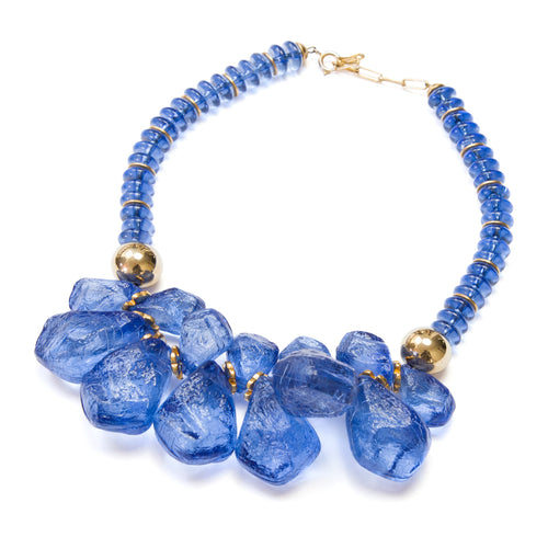 1970s Italian Marine Blue Plastic Necklace