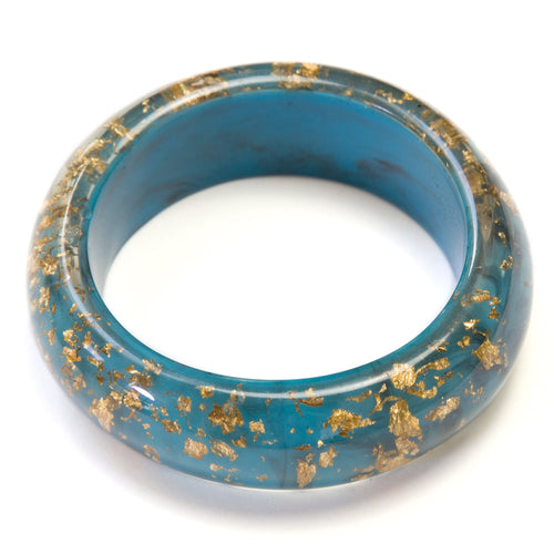 1950's Blue with Gold Confetti Bangle