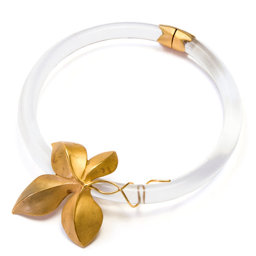1970s Clear Glass and Gold Choker