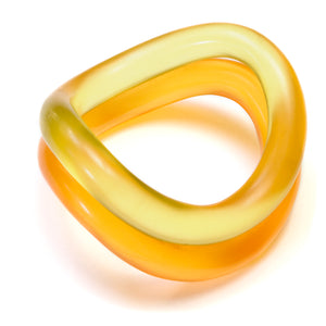 1980's Orange and Yellow Frosted Bangle Set