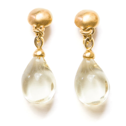 1960's Gold and Clear Drop Earrings