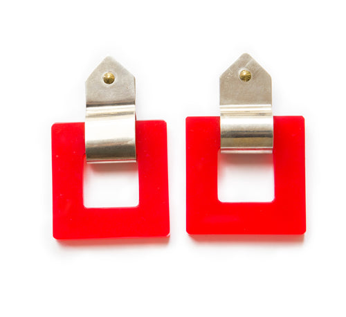 1960's Red and Chrome Square Earrings