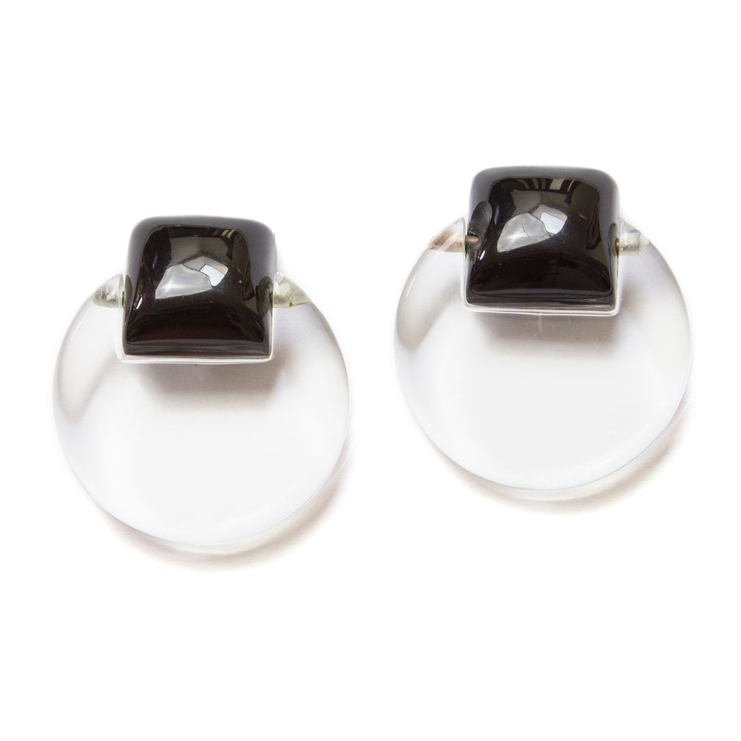 1960's Lucite with Black Squares Earrings