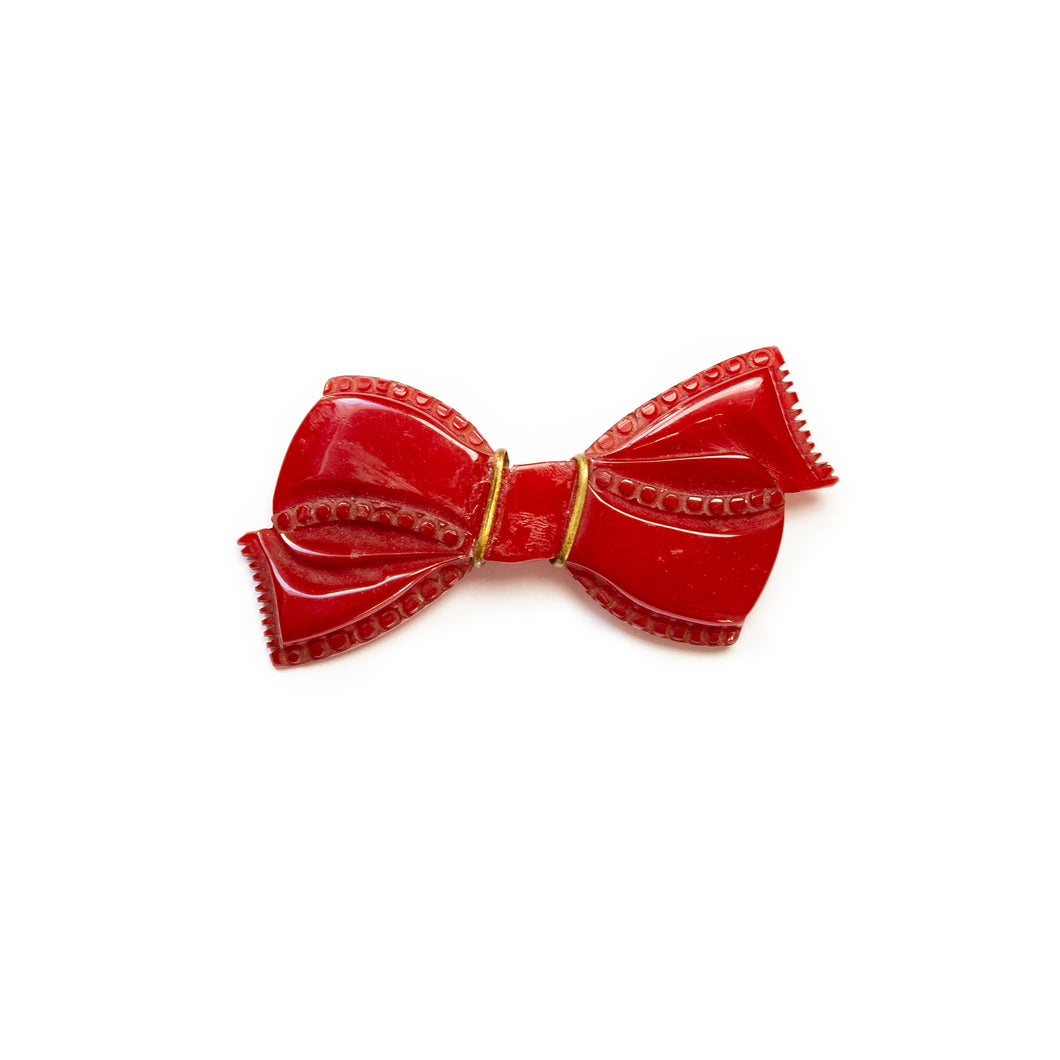 Red Bakelite Bow Brooch