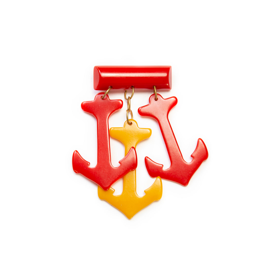 Red and Yellow Anchors Brooch