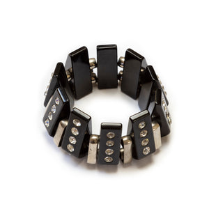Black Bakelite and Chrome Links Bracelet