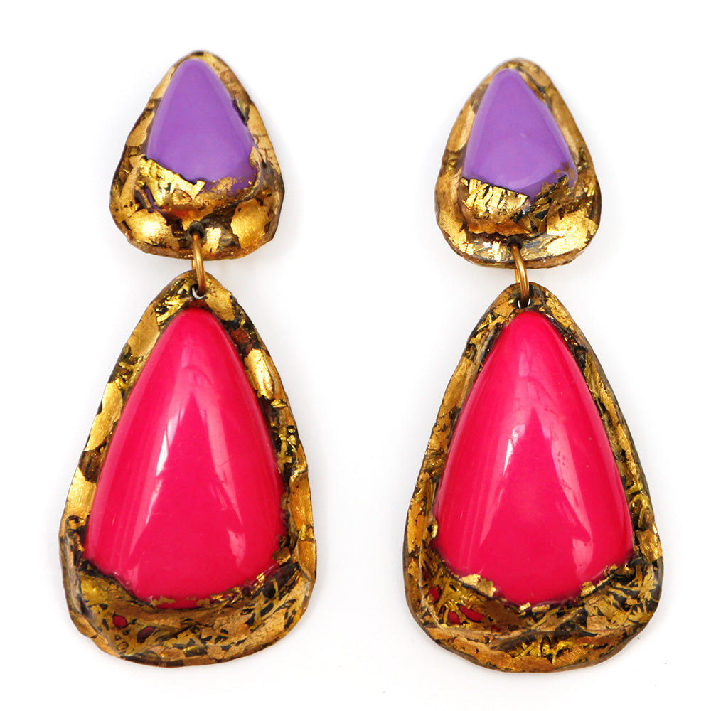 1980s Pink & Purple Resin Earrings