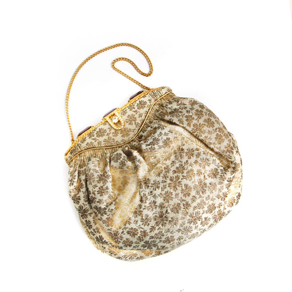 Gold Brocade and Amethyst Pouch Handbag