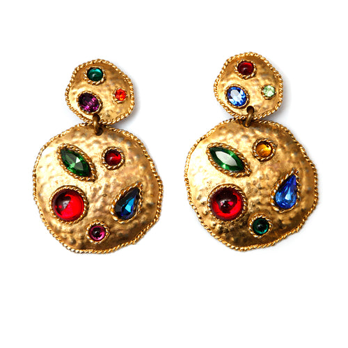 Rambaud Hammered Gold Multi-Coloured Earrings
