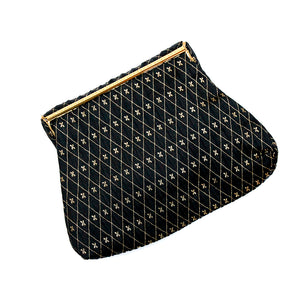 Leo Miller Black and Gold Fabric Clutch