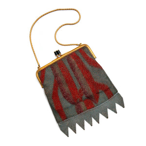 Deco Red and Grey Mesh Purse