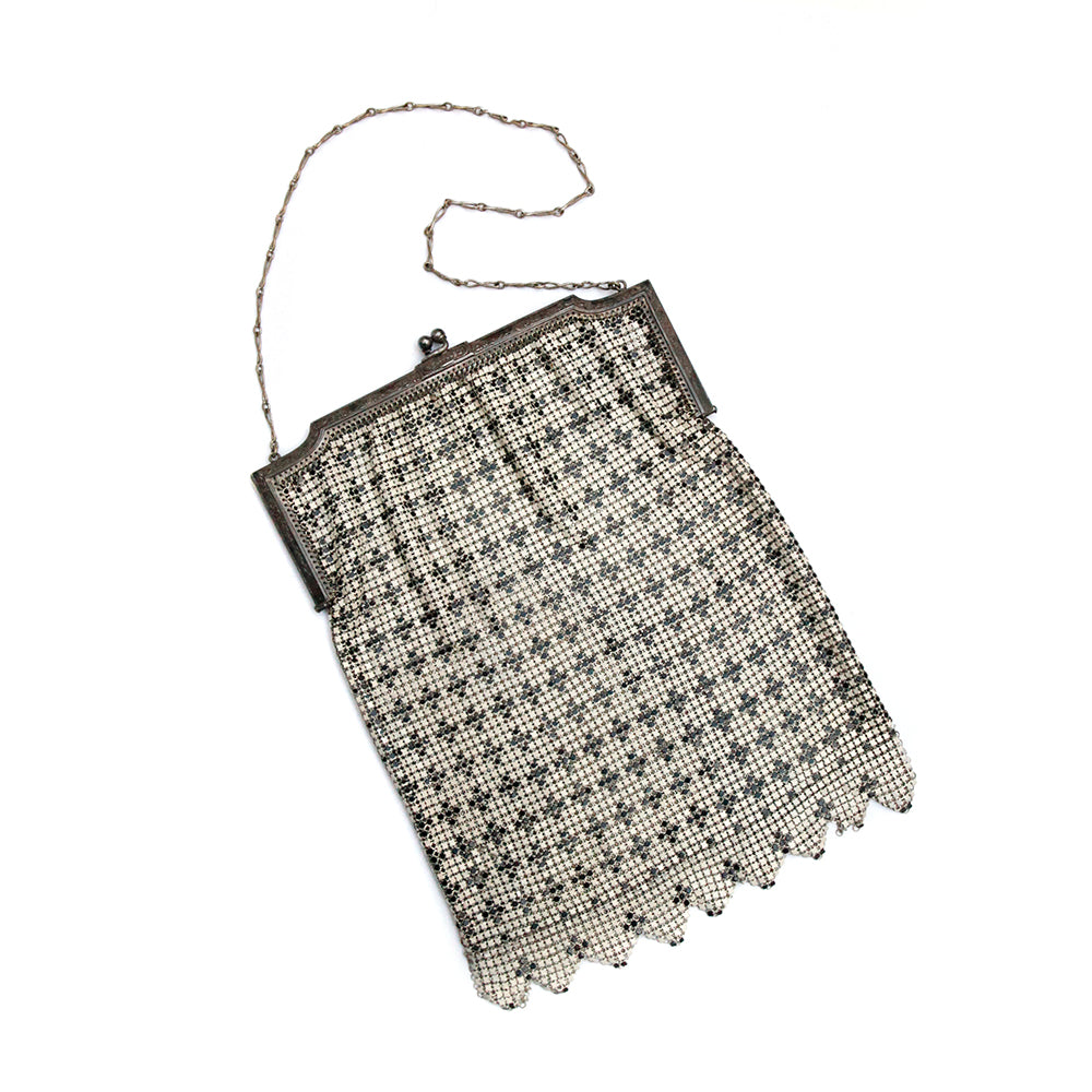 Whiting & Davis Black and White Mesh Purse
