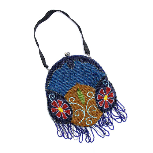 1940 Blue Beaded Floral Handbag