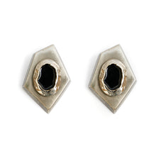 Load image into Gallery viewer, 1980s Silver and Black Geometric Earrings