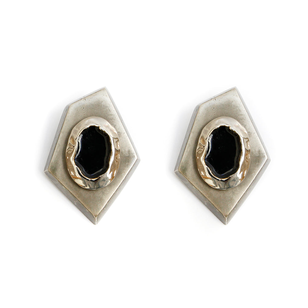 1980s Silver and Black Geometric Earrings