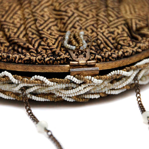 1940 Gold and Black Fabric Handbag