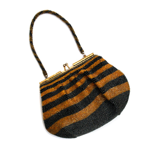 Gold And Black Beaded Striped Purse