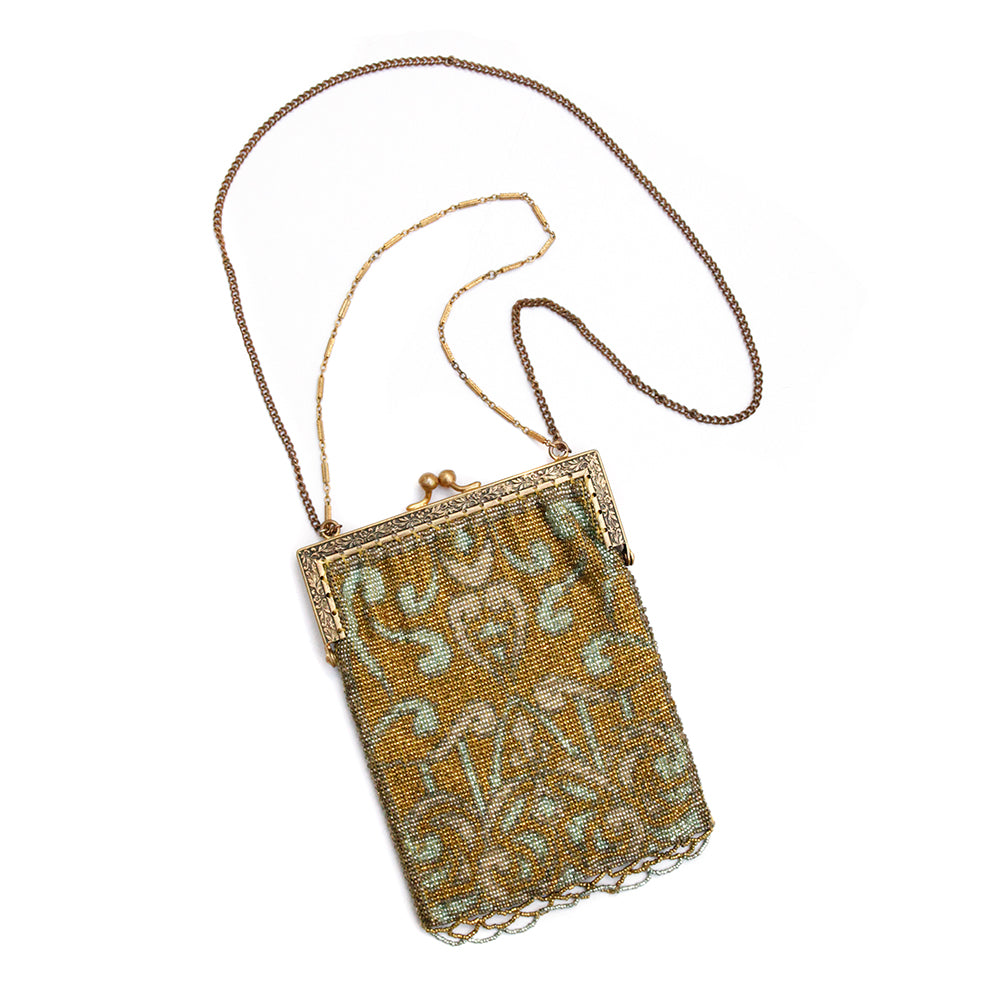 1930 Gold and Aqua Steel Beaded Purse