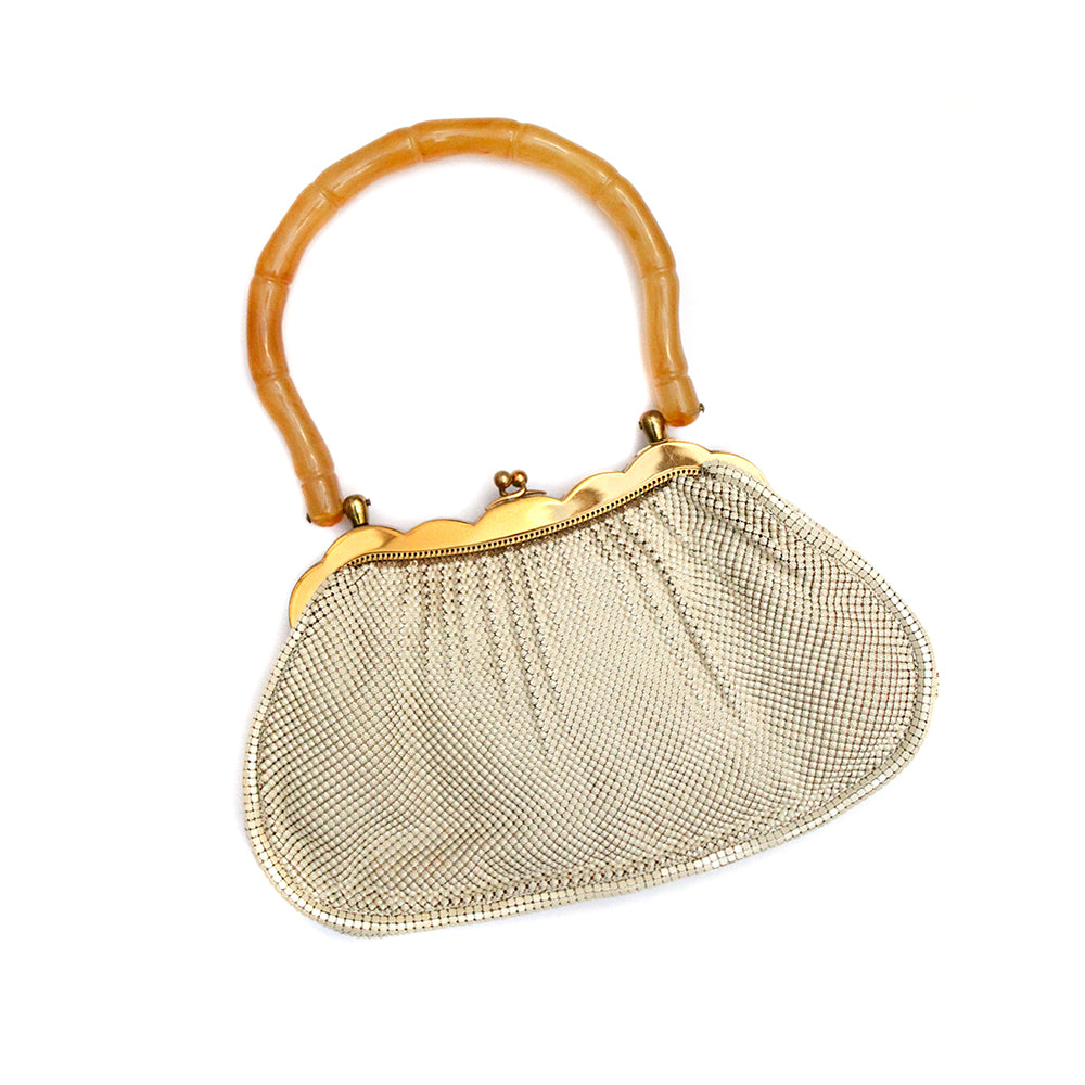 1950s Whiting & Davis White Mesh Purse
