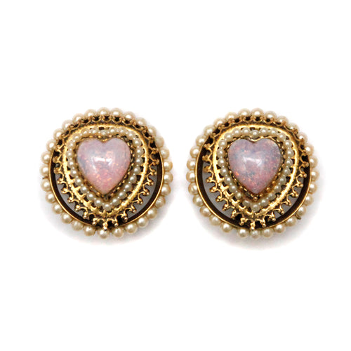 1950 Opalescent Pink Heart Earrings