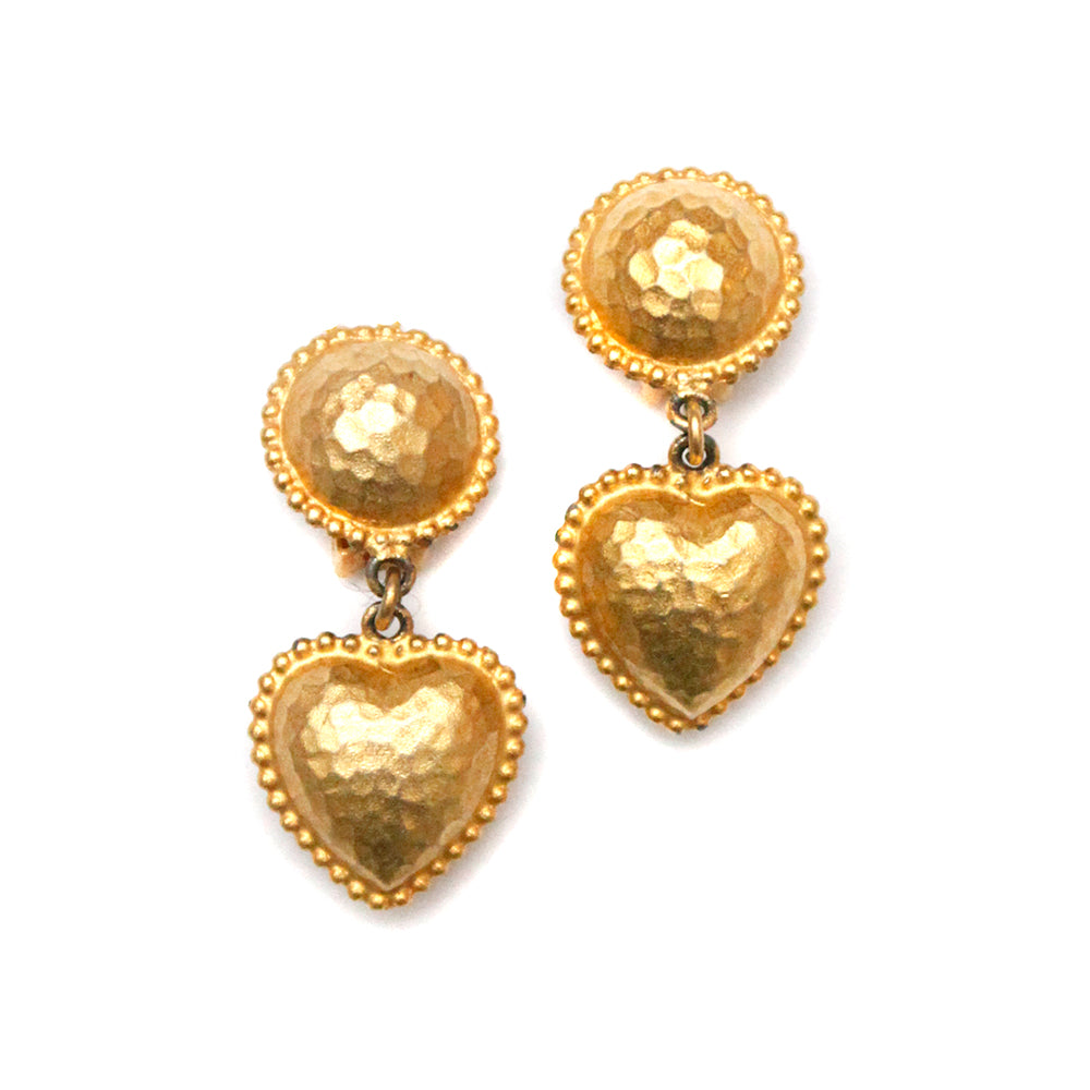 Gold Heart Textured Earrings