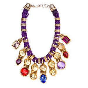 Valentino Purple Necklace with Coloured Crystals