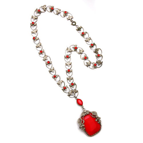 Czech Red Openwork Necklace