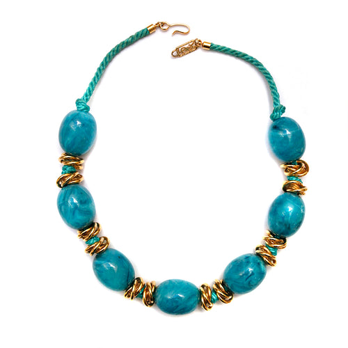 YSL Blue Beaded Rope Necklace