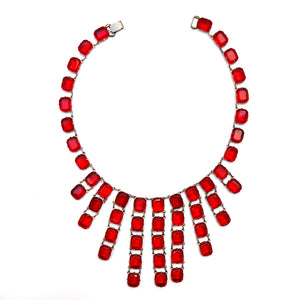 1930 Red Chiclet Tassel Necklace