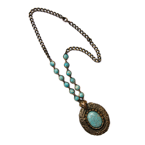 1960 Turquoise and Gold Pendant