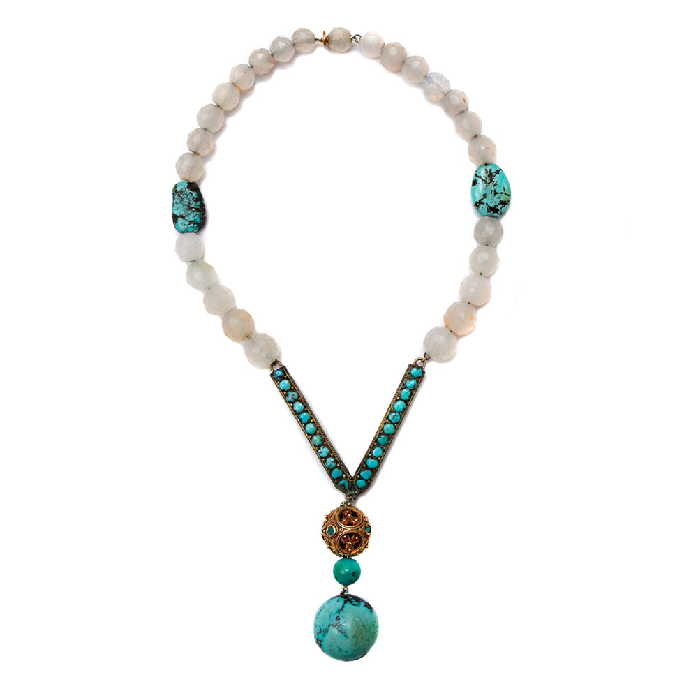 Turquoise and Glass Beaded Necklace