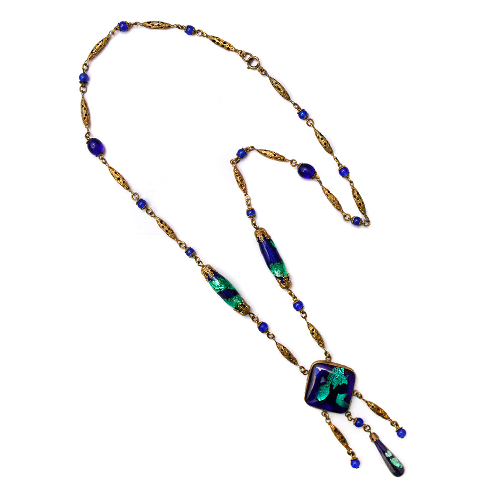 Czech Lapis and Gold Pendant Necklace