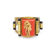 Load image into Gallery viewer, Seahorse Motif on Red Bakelite Cuff