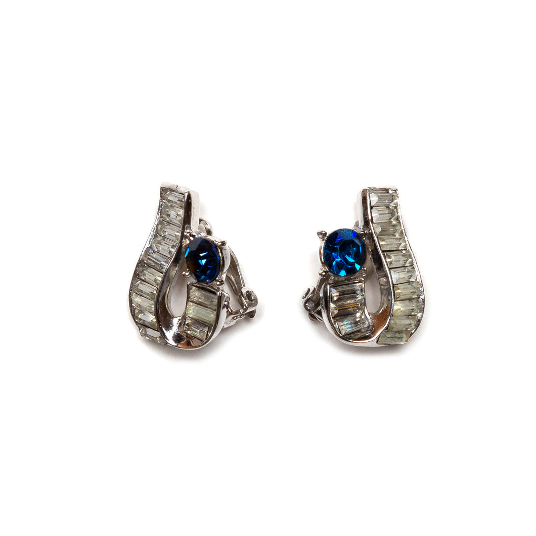 1940s Trifari Blue Stone Earrings