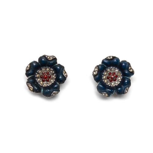1950s Blue Flower Earrings