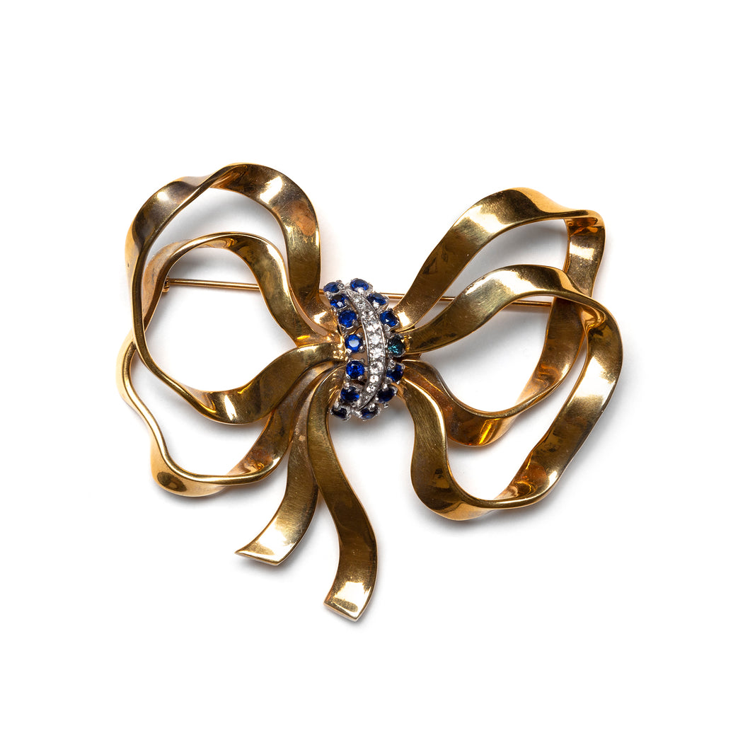 Large Gold Bow Brooch