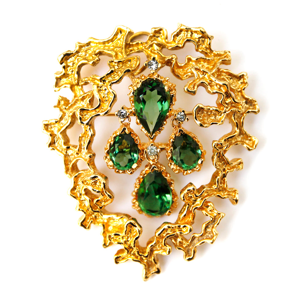 Panetta Gold Brooch with Emerald Stones