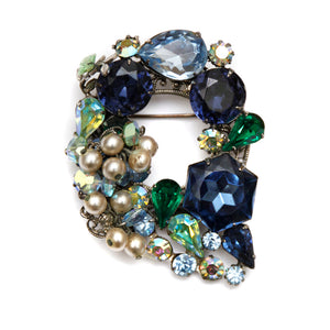 Robert Blue and Aurora Borealis Brooch