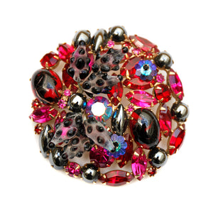 1960 Fuchsia, Red, and Metallic Brooch