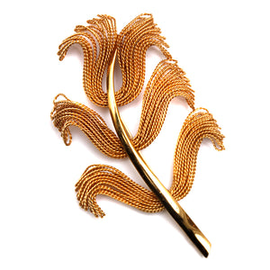 Napier Twisted Gold Leaf Brooch