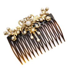 Load image into Gallery viewer, 1950 Pearl and Gold Floral Hair Comb