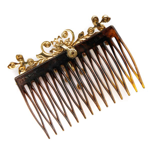 1950 Pearl and Gold Floral Hair Comb