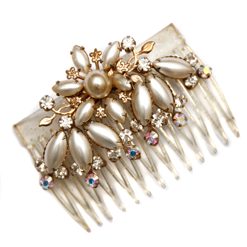 1950 Pearl and Diamante Flower Hair Comb