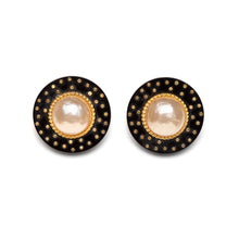Load image into Gallery viewer, 2006 Chanel Round Black with Pearl Centres Earrings