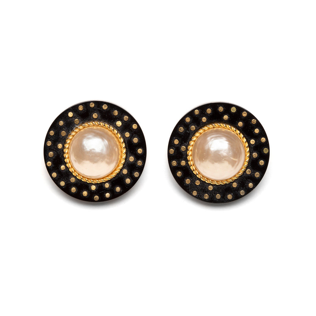 2006 Chanel Round Black with Pearl Centres Earrings
