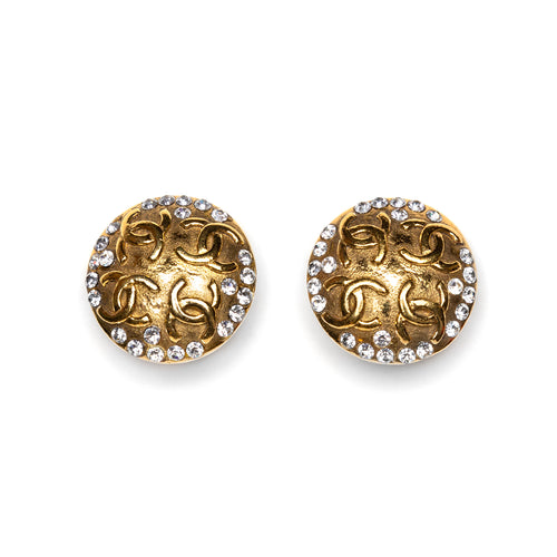 2003 Chanel Round Diamanté Earrings